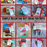 Need a simple Valentine gift idea for boys? It can be done! Check out these 16 different themed Valentine gift ideas that are perfect for a small token of your affection for your sons or grandsons. (and lots that girls will like too!) Plus I am offering 16 FREE printable gift tags to go with them!