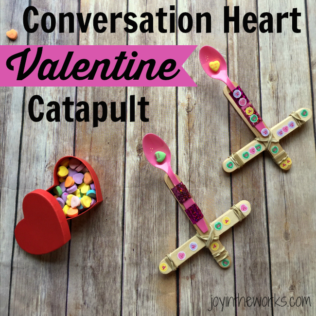 Looking for a fun activity for a class Valentine's Day Party? Check out this Conversation Heart Valentine Catapult. It's a super easy #STEM activity for home or at school! Plus you can compare conversation hearts and other candy and eat the leftovers! =)