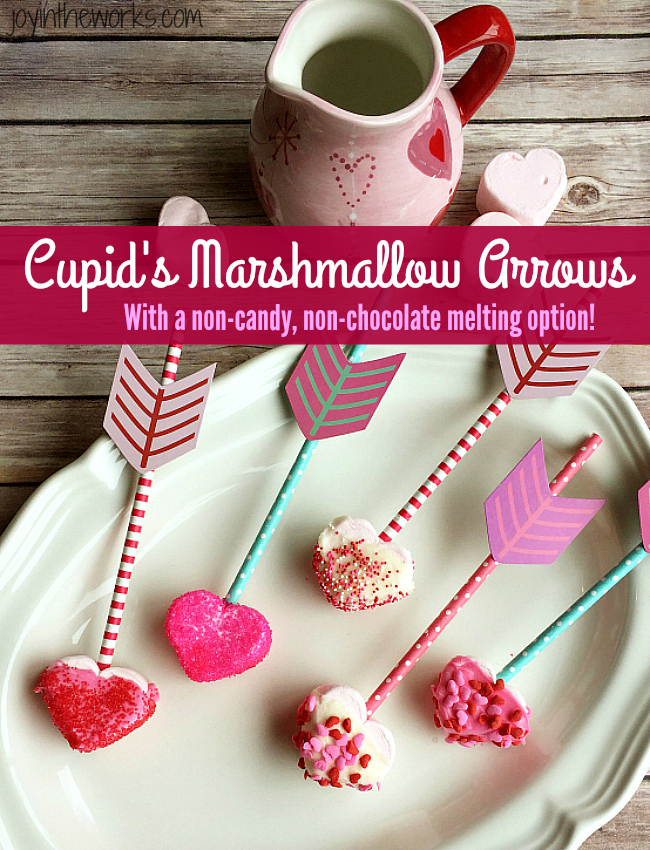 Easy Valentine treat: Cupid's Marshmallow Arrows with dipped and coated heart marshmallows on an arrow straw!