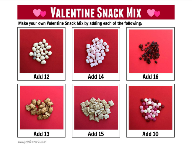 Add an educational element to your Valentine's Day Snack Mix. The kids can create their own Valentine's Day snack, while reinforcing counting and math skills.