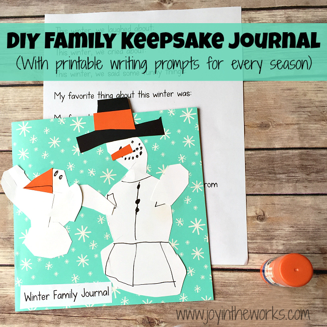 Want a great way to record family memories? How about this DIY Family Keepsake Journal for winter that you can make together? Printable writing prompts included for every season (starting with winter). Great way to remember funny kid quotes, adventures and to develop gratitude!