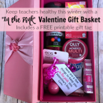 Give the gift of health this Valentine's Day with this In the Pink Valentine's Day gift basket. Great gift idea for teachers who are surrounded by germs all day long throughout the cold, winter months. Includes free printable gift tag!