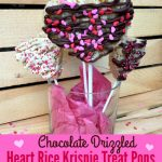 Chocolate Drizzled Heart Rice Krispie Treat Pops are so easy to make and are the perfect Valentine treat for the kids (and for the rest of us!!)!
