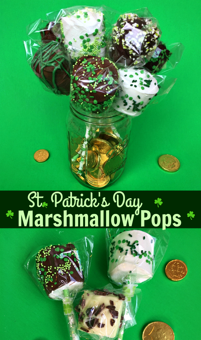 Easy DIY St. Patrick's Day Marshmallow Pops dipped in chocolate with festive green sprinkles