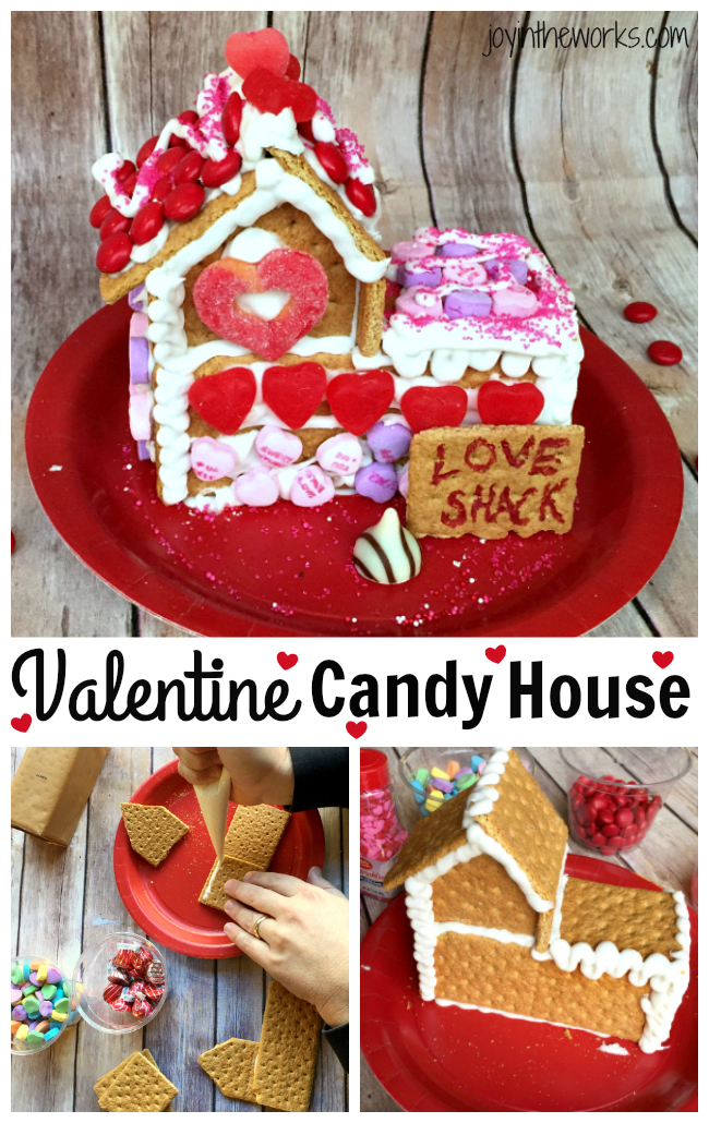 Gingerbread houses aren't just for Christmas! Why not take advantage of all the Valentine's Day candy and make a Valentine Candy House? So easy to make and so fun for the kids! A Valentine Gingerbread House would make a great Valentine's Day class party activity too!