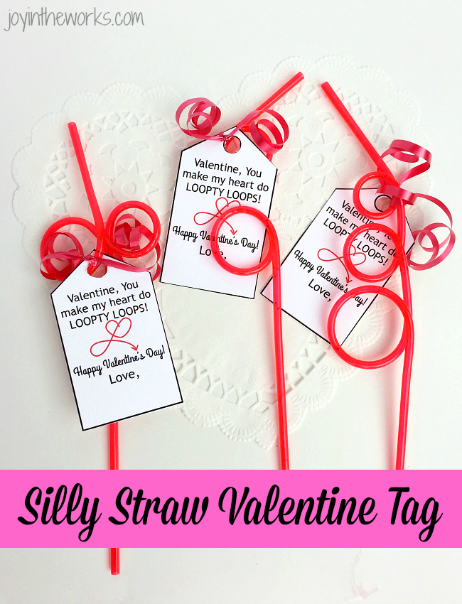 Use a Silly Straw Valentine Tag as an easy non-candy class valentine option to go with silly straws or crazy straws. Includes free printable Valentine gift tag with Loopty Loop message.