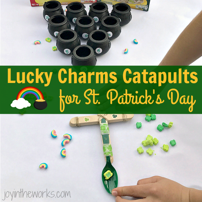 Make Lucky Charms Catapults, the perfect #STEM activity for St. Patrick's Day! Add in an extra level of fun with point values and pot of gold target practice!