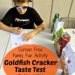 Looking for a screen free family fun activity? Check out this Goldfish Cracker Taste Test where the kids have to guess and rate the various goldfish cracker flavors!