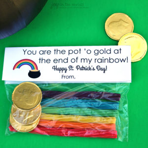 St. Patrick's Day Treat Bag Topper: You are the pot o' gold at the end of my rainbow!