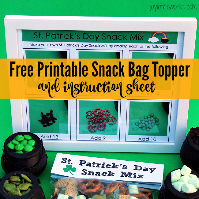St. Patrick's Day Snack Mix with printable easy to follow instructions for the kids plus a free printable treat bag topper. Perfect for a St. Patrick's Day party or a simple celebration at home.