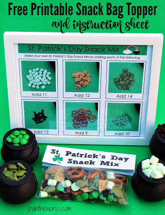 St. Patrick's Day Snack Mix with Free Printables