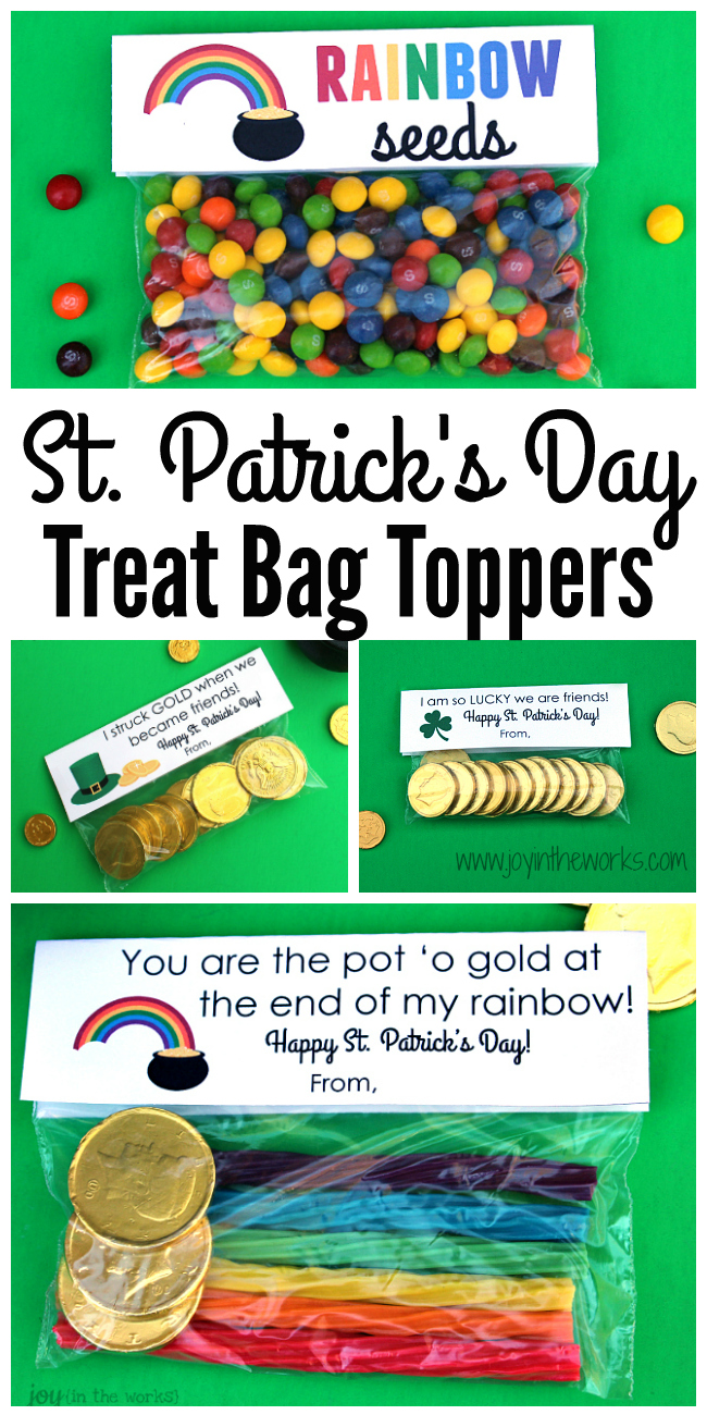 Looking for a simple gift idea for St. Patrick's Day? How about putting together a snack bag of treats and adding these St. Patrick's Day Treat Bag Toppers to them? 4 different options available!