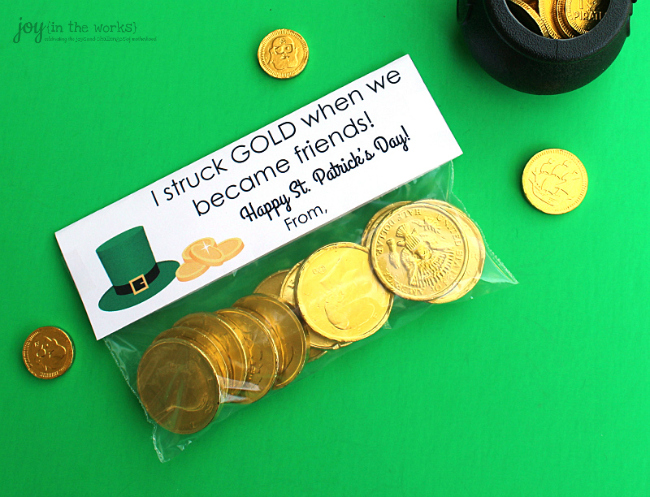 St. Patrick's Day Treat Bag Toppers: I struck gold when we became friends