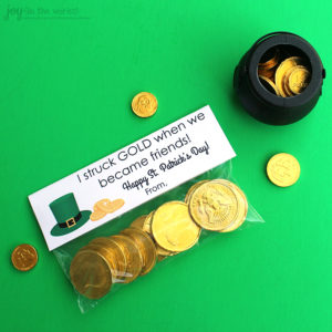 St. Patrick's Day Treat Bag Topper: I struck gold when we became friends