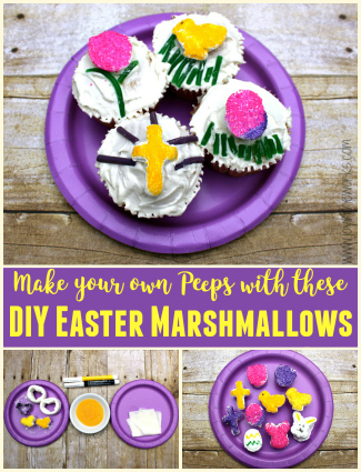 Make your own Peeps with these mini-marshmallow shapes! From chick marshmallows to Easter egg marshmallows, you can make any shape you want with these DIY Easter Marshmallows! And they make the perfect Easter cupcake topper too!