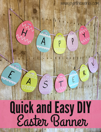 It is so easy to make your own Easter Decorations when you make this quick and easy DIY Easter Banner! You can make it with Easter Eggs, Bunnies or Carrots!