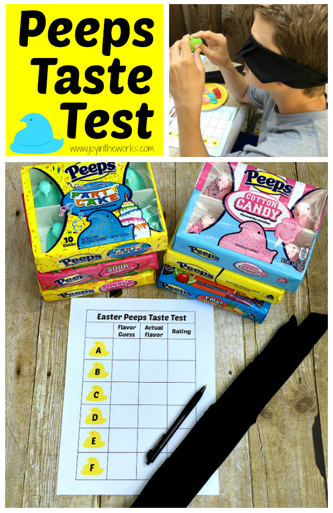 Did you know that Easter Peeps come in different flavors now? From cotton candy to sour watermelon, there are lots of yummy flavors for this classic Easter treat! To make it even more fun, we decided to do a blind Peeps Taste Test to see if the kids could identify the flavors! Free printable available for you to do the same!