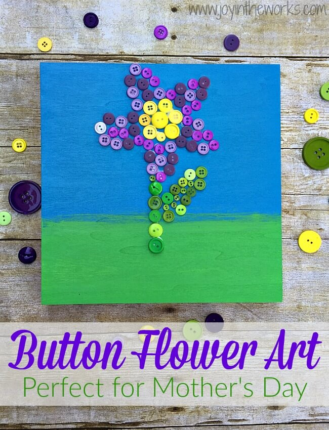 Looking for a creative DIY Mother's Day Gift or just a beautiful work of art? This button flower art project is surprisingly easy and sure to impress! It's a great homemade gift idea that an adult or an older child can make!