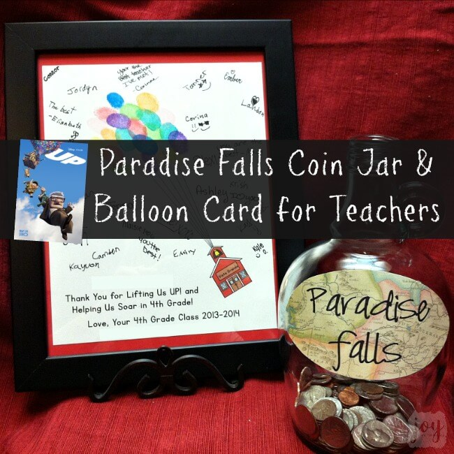 Need a class gift idea for a teacher? This is the perfect end of the year teacher gift (especially if they are Pixar or Disney fans!). Check out how we made our very own Up Paradise Falls Coin Jar as well as an Up balloon schoolhouse card to go with it. Our teacher loved this creative gift from the whole class!