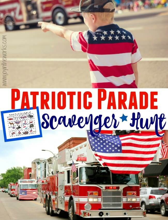 Make your town 4th of July Parade extra exciting for the kids by adding this 4th of July Parade Scavenger Hunt! Kids can find all sort of fun items from a dressed up dog to an old fashioned car! Works great for any patriotic parade making it a Memorial Day Parade Scavenger Hunt also!