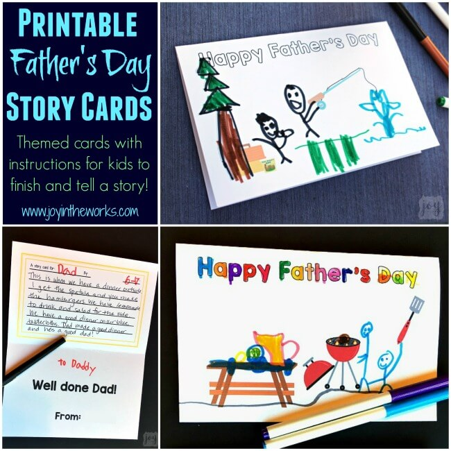 "A unique twist on a homemade Father's Day card: Father's Day Story Cards! These themed ""finishable"" story cards have the beginnings of a picture scene and include instructions and lines for kids to create and record their story creation!"