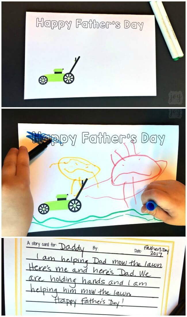 """A unique twist on a homemade Father's Day card: Father's Day Story Cards! These themed """"finishable"""" story cards have the beginnings of a picture scene and include instructions and lines for kids to create and record their story creation!"""
