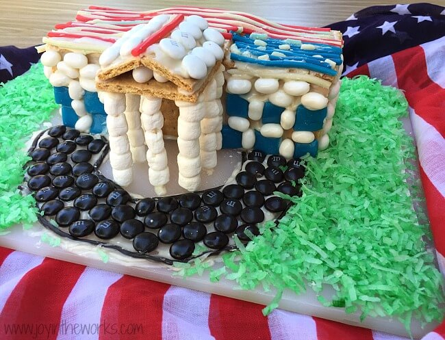 Looking for a 4th of July family fun activity? How about making a graham cracker White House and decorating it with red, white and blue patriotic candy? Gingerbread Houses aren't just for Christmas anymore, especially since candy house decorating always brings the family together! =)