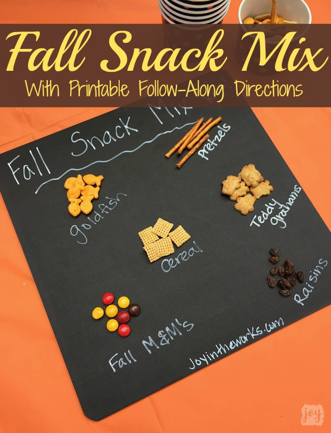 Have kids create their own Fall Snack Mix using these printable follow-along directions! Kids can practice their counting skills and follow directions while creating a yummy treat! Even better? A printable Fall Snack Bag Topper to go with it! Perfect for a Fall Festival or Class Halloween Party Snack!