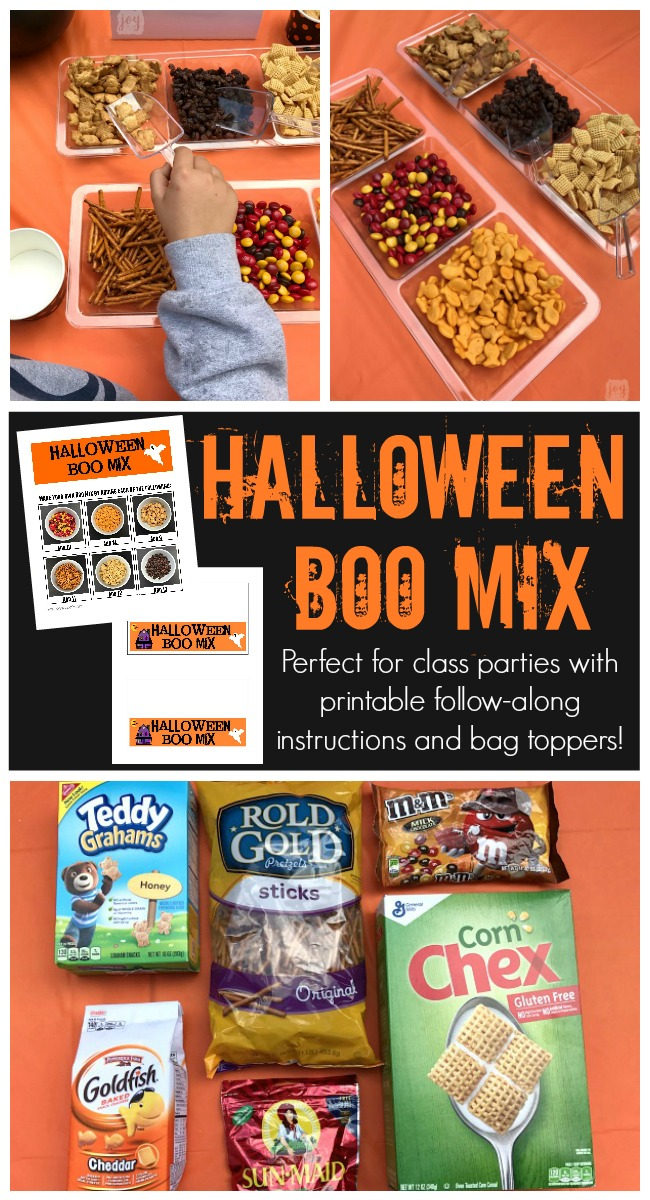 Have kids create their own Halloween Boo Mix using these printable follow-along directions! Kids can practice their counting skills and follow directions while creating a yummy treat! Even better? A Boo Mix Snack Bag Topper to go with it! Perfect for a Class Halloween Party Snack!