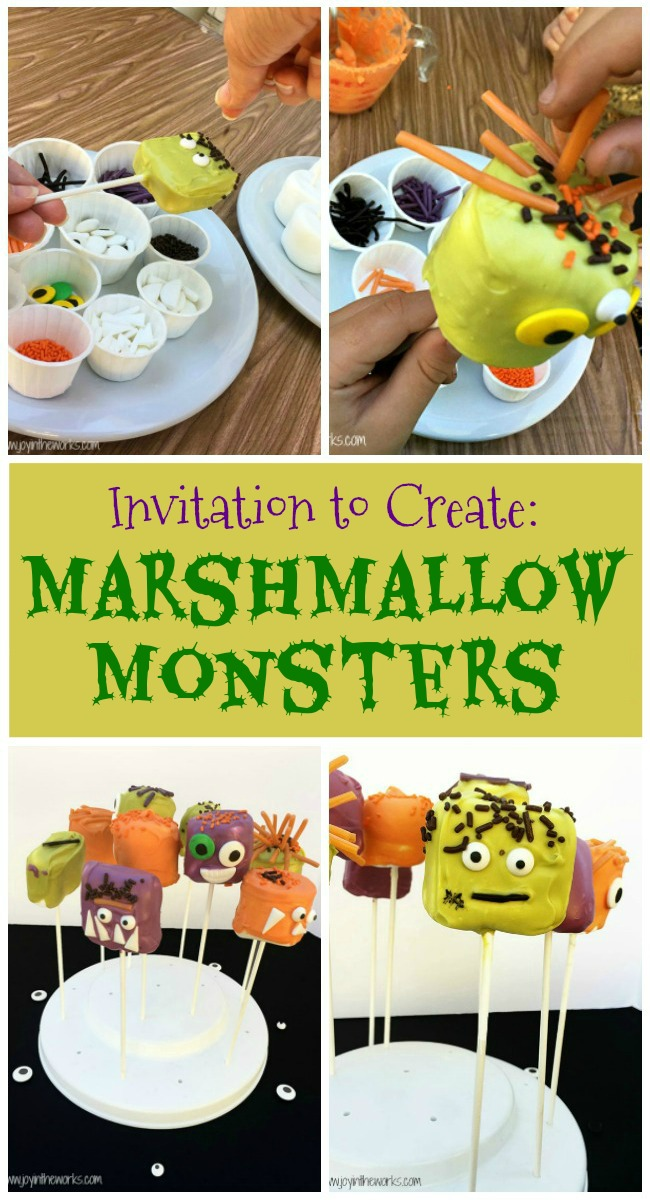 Looking for a Halloween Party Activity? These Marshmallow Monsters Halloween Treats are the perfect Halloween Invitation to Create! Plus any Halloween treat that doubles as an activity is a win in my book!