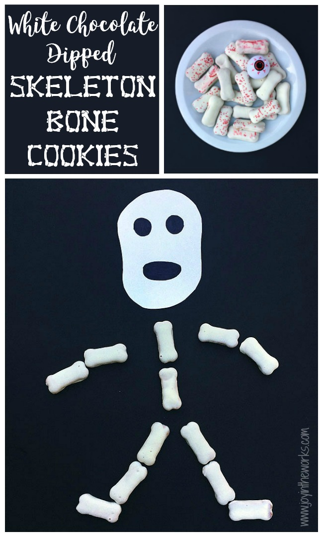 Make these easy White Chocolate Skeleton Bone Cookies for a Halloween Party Treat! Even better? Only 2 ingredients!