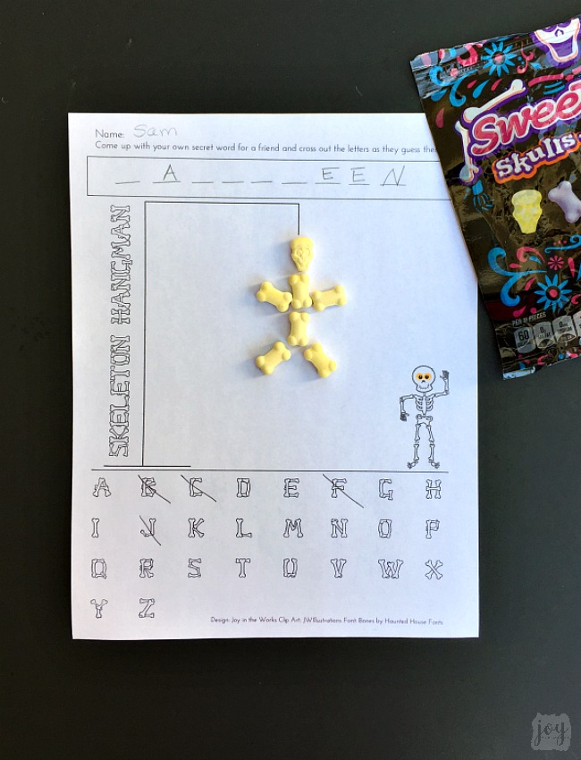 photograph regarding Printable Hangman called Skeleton Hangman: A Printable Halloween Bash Video game - Pleasure within