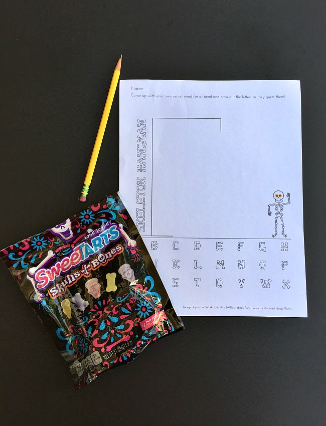 image relating to Printable Hangman identified as Skeleton Hangman: A Printable Halloween Celebration Match - Happiness within just