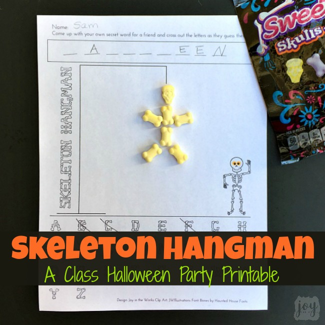 Skeleton Hangman, a Halloween version of Hangman, is the perfect printable Halloween party game- especially for a Class Halloween Party!