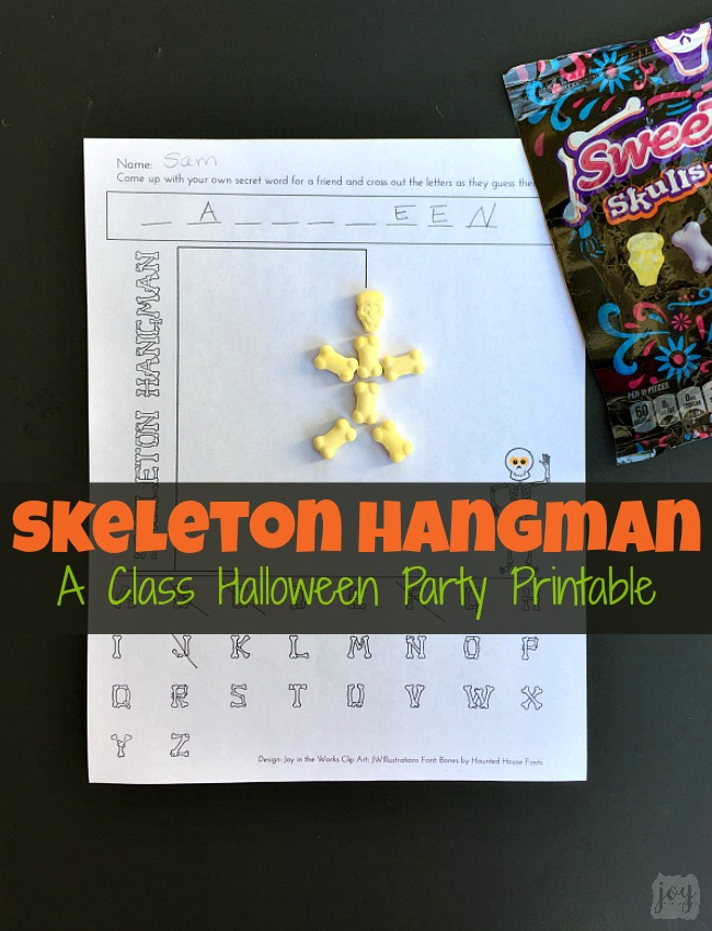 photograph relating to Printable Hangman called Skeleton Hangman: A Printable Halloween Celebration Activity - Pleasure inside of