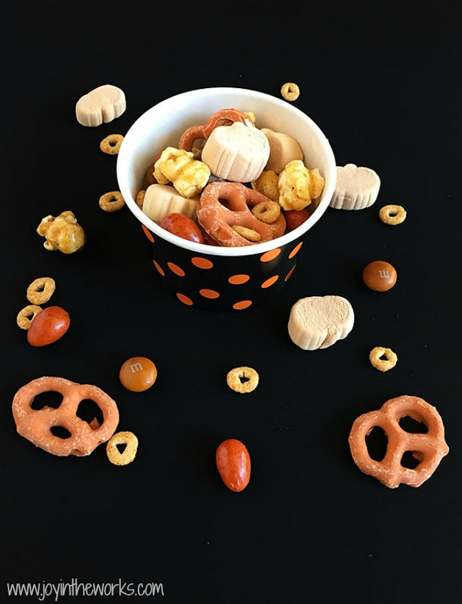 Pumpkin Spice fan? Then you have to try this Pumpkin Spice Snack Mix! It contains everything pumpkin spice flavored that you could ever want! From Pumpkin Spice Marshmallows to Pumpkin Spice M&M's to Pumpkin Spice Cheerios, this Fall Trail Mix has it all!