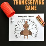 A fun printable Thanksgiving game for school or home! Rolling for Turkeys is a printable Thanksgiving game where you roll and color the turkey feathers until it is all filled in!