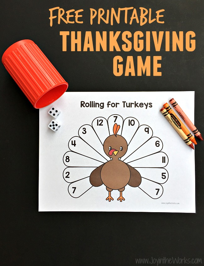 graphic regarding Free Printable Thanksgiving Games for Adults referred to as Rolling for Turkeys: A Printable Thanksgiving Recreation - Happiness inside of