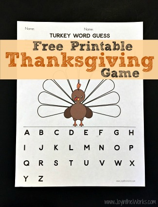 Turkey Word Guess: A Printable Thanksgiving Game