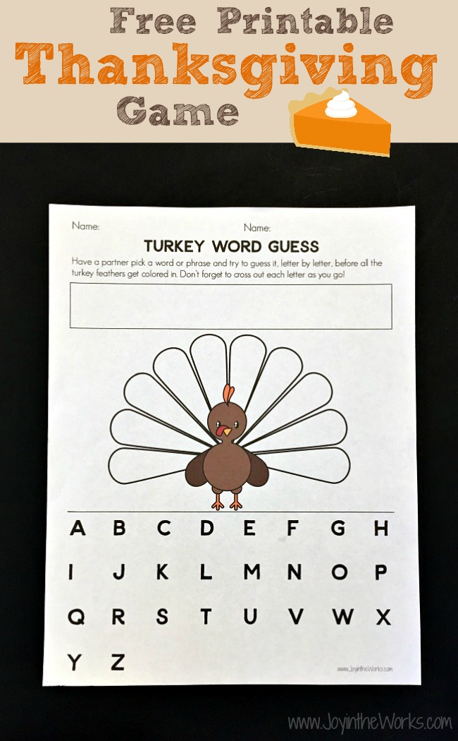 "Looking for a simple game to entertain the kids on Thanksgiving? This Free Printable Thanksgiving Game that we called ""Turkey Word Guess"" is really just a fun version of Thanksgiving Hangman! But trust me, the kids will love it!"