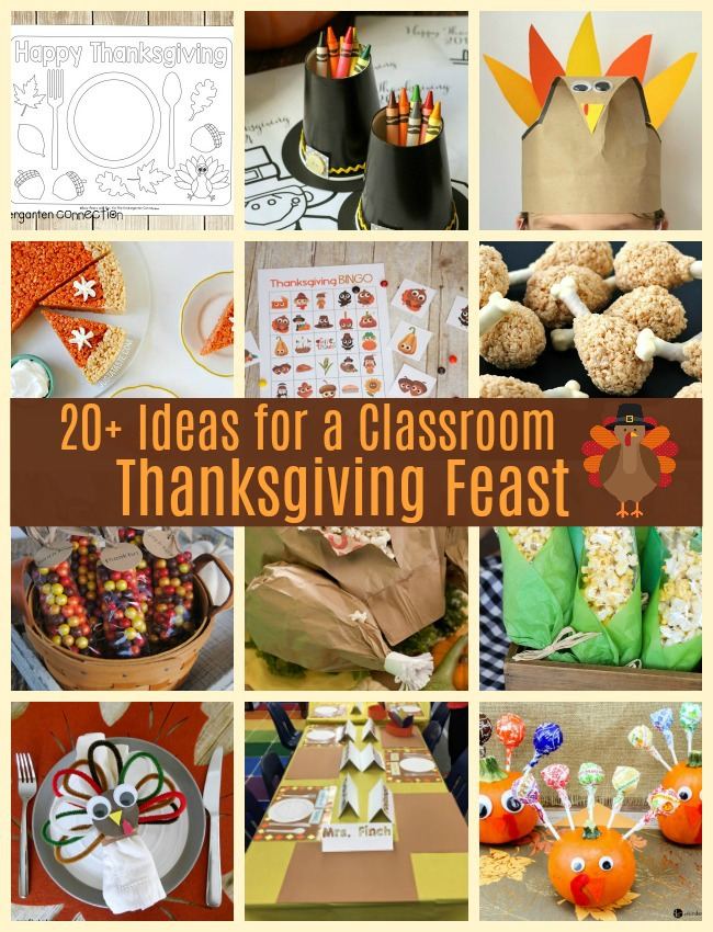 Looking for Classroom Thanksgiving Feast Ideas? Or need Kid's Thanksgiving Feast Food, Snacks or Activities? Check out these 20+ ideas for a Thanksgiving Feast in the classroom or at home! #thanksgivingforkids #thanksgivingfeastintheclassroom #classroomthanksgivingfeast #thanksgivingfavors #thanksgivingcrafts #thanksgivinggames #thanksgivingdecorations
