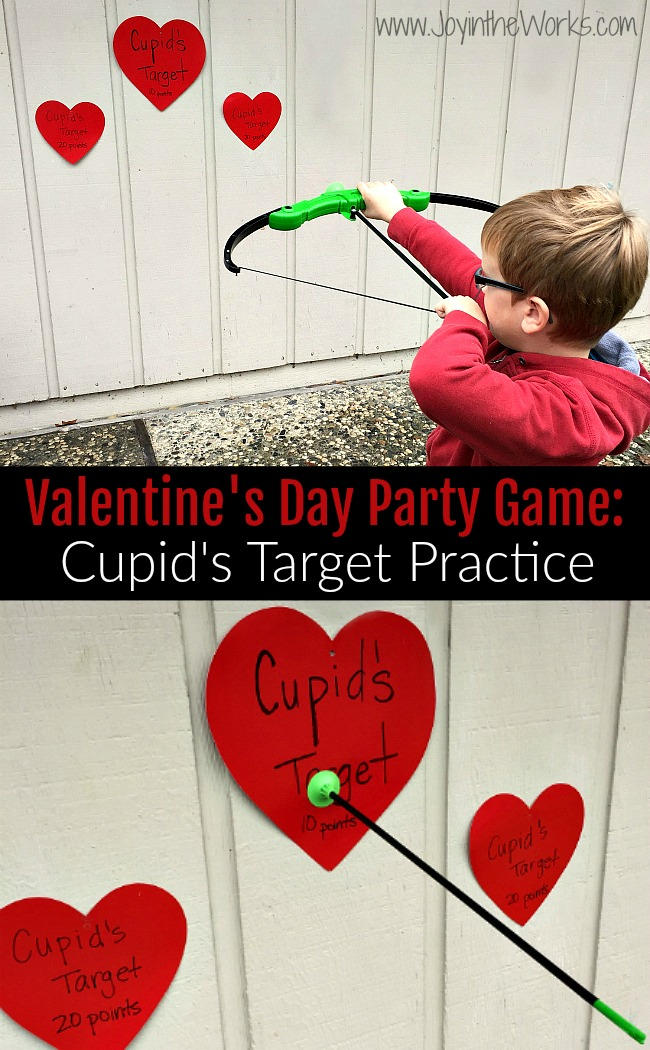 Looking for a fun Valentine Party game for kids? Check out Cupid's Target Practice with an indoor bow and arrow!