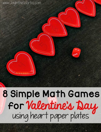 Valentine Themed Math Games Using Heart Paper Plates