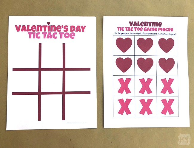 Need a quick and easy printable Valentine's Day Party Game? Valentine Themed Tic Tac Toe is always a hit, especially when you pair it with chocolate kisses or candy hearts! Download the free printable Valentine's Day game complete with game pieces or get inspired by the numerous creative game piece ideas! #valentinesdayparty #valentinesdaypartygames #kidgames #printablegame #freeprintable #tictactoe