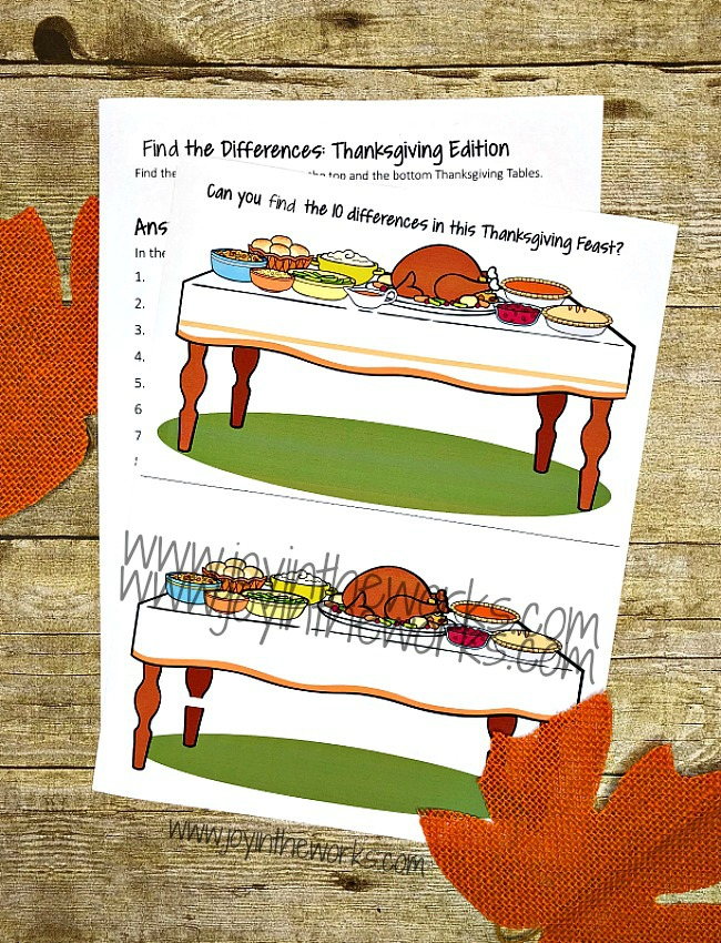 Keep the kids entertained with this Find the Differences Thanksgiving Printable. It's perfect for a Class Thanksgiving Feast at School or for Thanksgiving family fun at home!