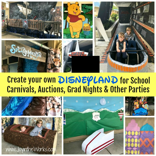 Create your own Disneyland for a school carnival, grad night or a themed Disney party with all these decoration, construction and craft projects that will help replicate all the different rides, lands and landmarks of the world famous Disneyland! From Space Mountain to It's a Small World to Pirates of the Caribbean, these ideas will inspire you to replicate Disneyland in your own backyard!