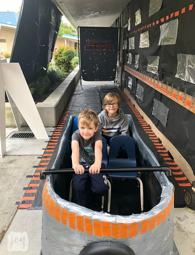 "The Space Mountain roller coaster car replica as a part ""The Happiest School on Earth"" as we turned our school into Disneyland. You can create your own Disneyland too!"