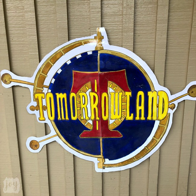"The Tomorrowland sign as a part ""The Happiest School on Earth"" as we turned our school into Disneyland. You can create your own Disneyland too!"