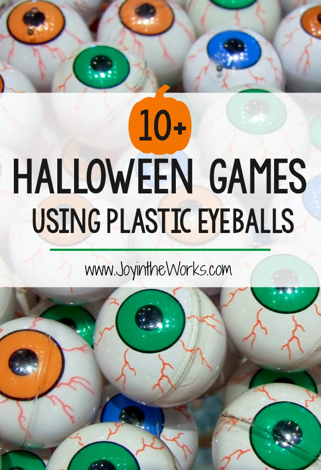 Looking for some simple Halloween party games for a Halloween Class Party or even just for a children's Halloween Party at home? These 10 Halloween Games using plastic eyeballs are perfect for preschoolers, elementary school age and even teenagers! From Eyeball Pong to an Eyeball Hunt, there is a Halloween Game everyone will love! #Halloween #Halloweengames #halloweenparty #halloweenpartygames #classparty #halloweenclassparty