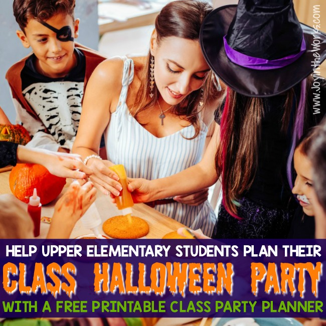 Struggling to come up with Upper Elementary Class Halloween Party ideas? Let the students plan their own Halloween Class Party! Not only will it guarantee they will enjoy themselves, but it will teach the students responsibility and organization- especially if they use this free printable Class Party Planner to get it done! #halloweenparty #halloweenclassparty #classparty #classpartyplanner #upperelementary #oldergrades #uppergrades